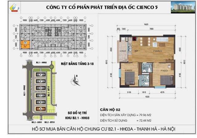 Căn 802 B2.1 HH03C Thanh Hà