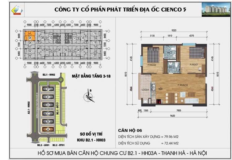 Căn 1406 B2.1 HH03C Thanh Hà