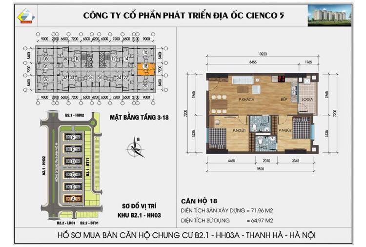 Căn 218 B2.1 HH03C Thanh Hà