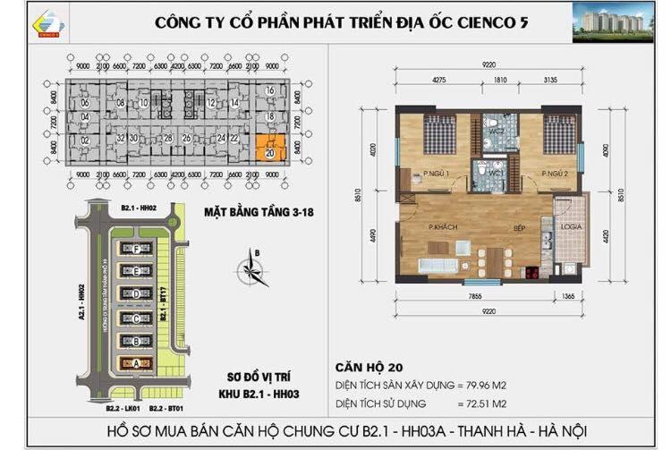 Căn 220 B2.1 HH03C Thanh Hà