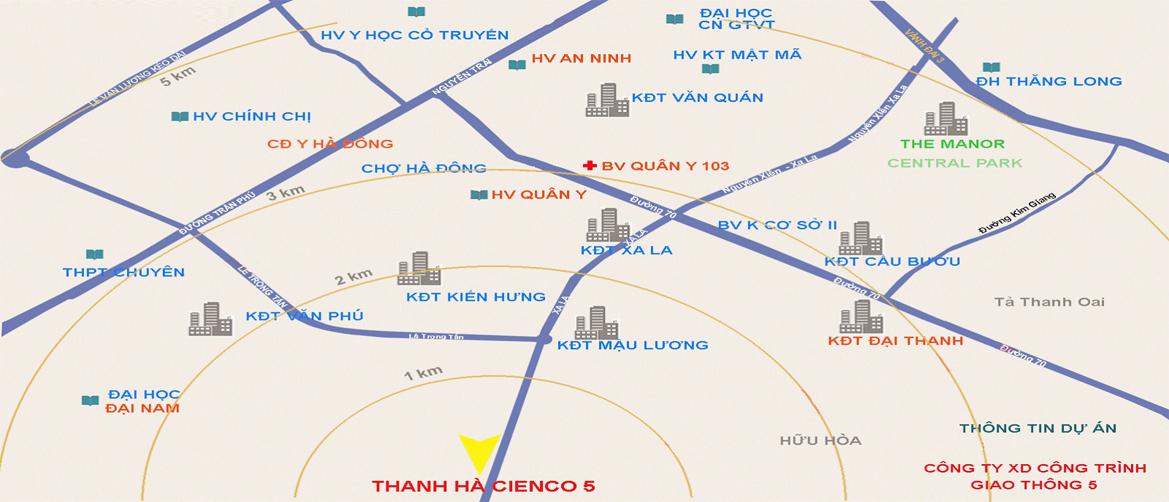 Vị trí dự án khu đô thị thanh hà mường thanh cienco 5 land