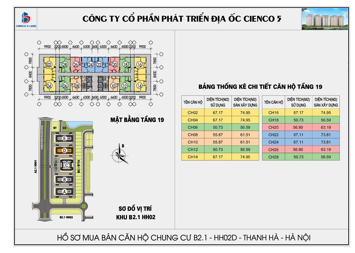 Mặt bằng tổng thể tầng 19 chung cư b2.1 hh02d thanh hà