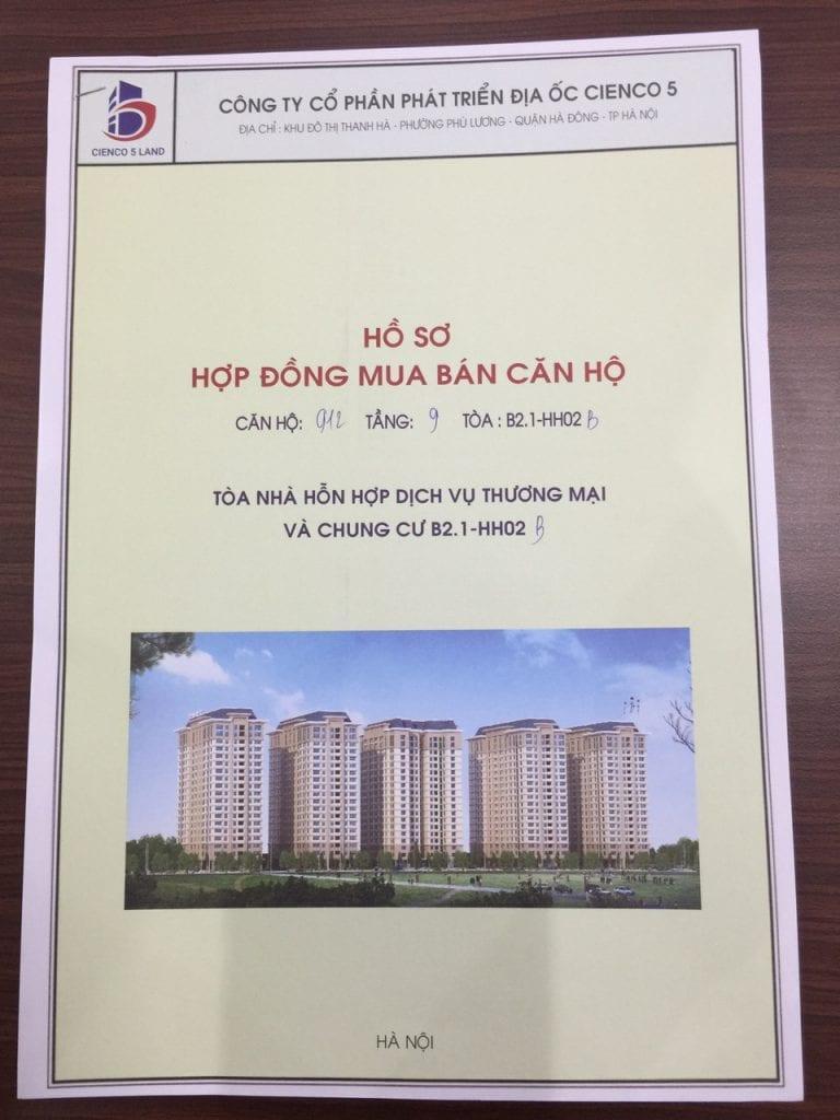 Bìa Hợp đồng mua bán căn hộ chung cư b21 hh02 thanh hà