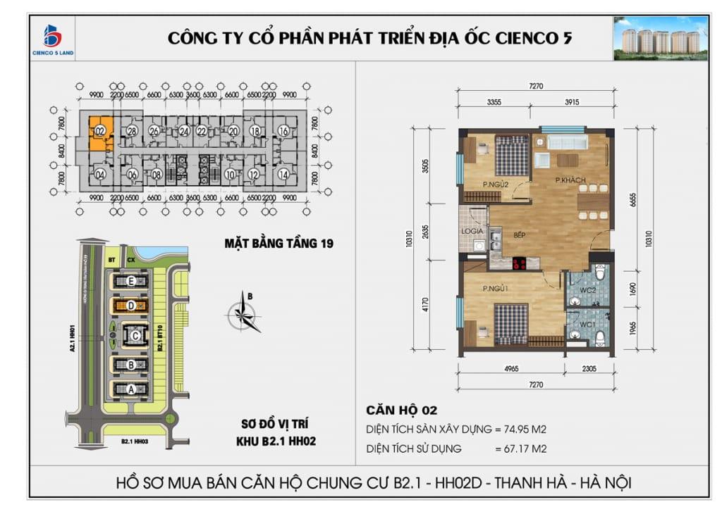 Mặt bằng căn hộ 02 chung b2.1 hh02d thanh hà mường thanh cienco5