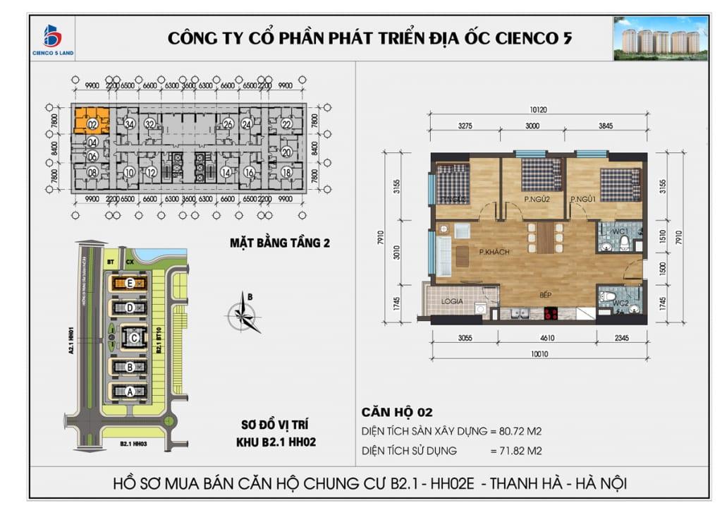 Mặt bằng căn 02 tầng 2 chung cư b2.1 hh02E thanh hà