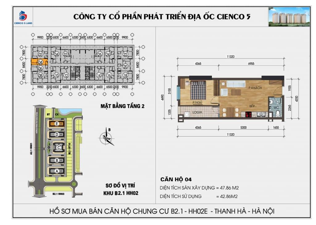 Mặt bằng căn 04 tầng 2 chung cư b2.1 hh02E thanh hà
