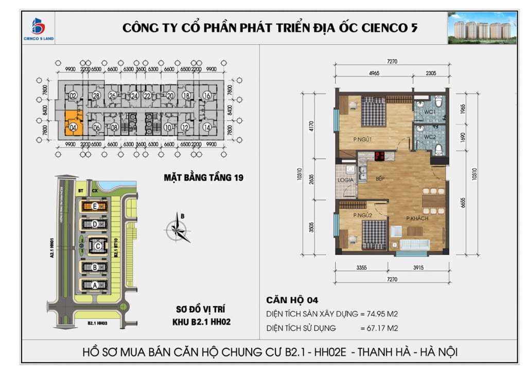Mặt bằng căn hộ 04 chung b2.1 hh02E thanh hà mường thanh cienco5