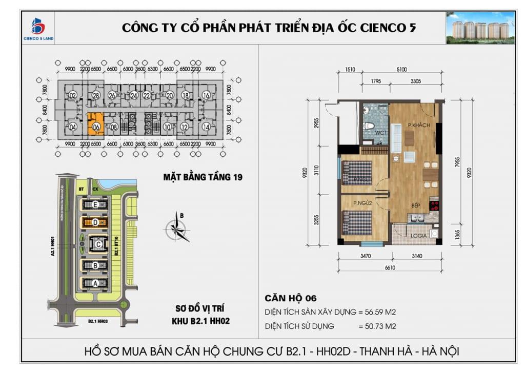 Mặt bằng căn hộ 06 chung b2.1 hh02d thanh hà mường thanh cienco5