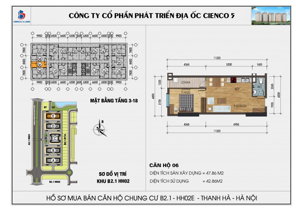 Mặt bằng căn hộ 06 chung b2.1 hh02E thanh hà mường thanh cienco5