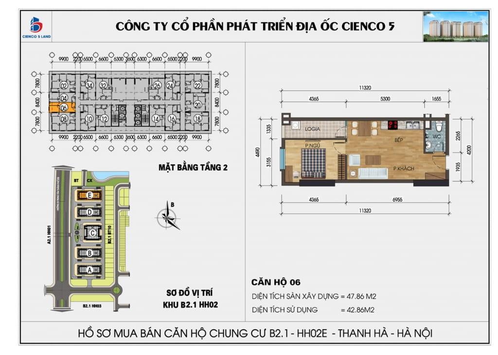 Mặt bằng căn 06 tầng 2 chung cư b2.1 hh02E thanh hà