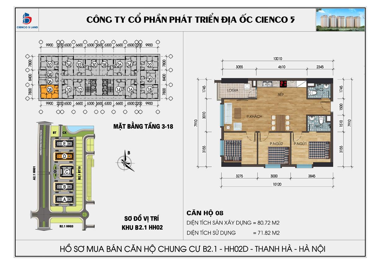 Thiết kế căn 3 ngủ chung cư Thanh Hà cienco 5 land