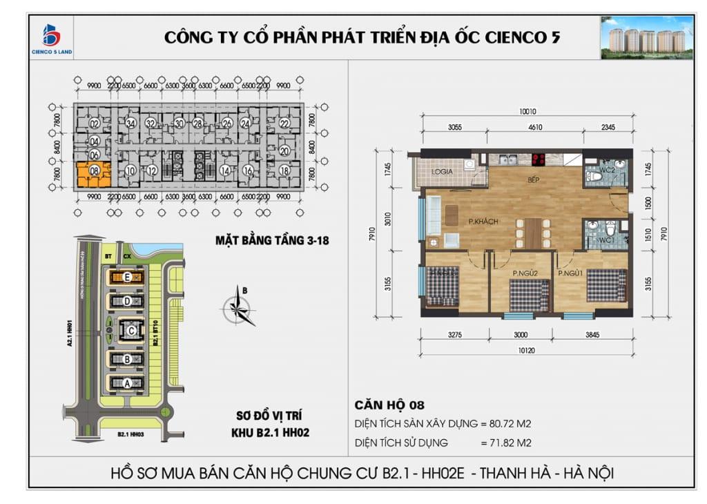 Mặt bằng căn hộ 08 chung b2.1 hh02E thanh hà mường thanh cienco5