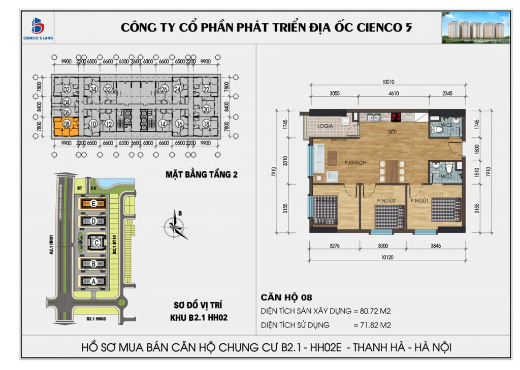 Mặt bằng căn 08 tầng 2 chung cư b2.1 hh02E thanh hà
