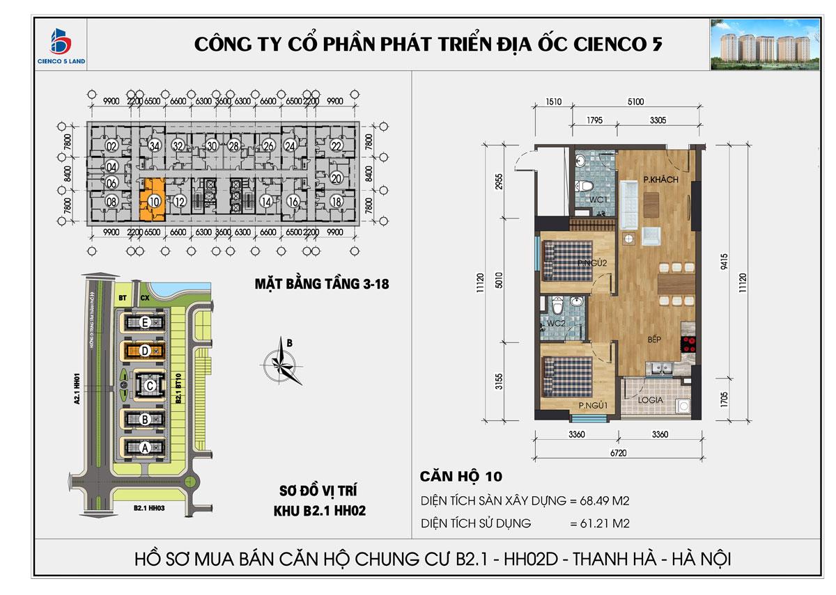 Thiết kế điển hình căn 2 ngủ chung cư thanh hà cienco 5