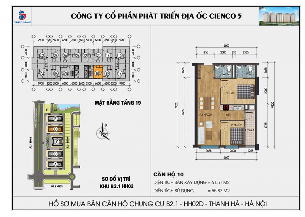 Mặt bằng căn hộ 10 chung b2.1 hh02d thanh hà mường thanh cienco5