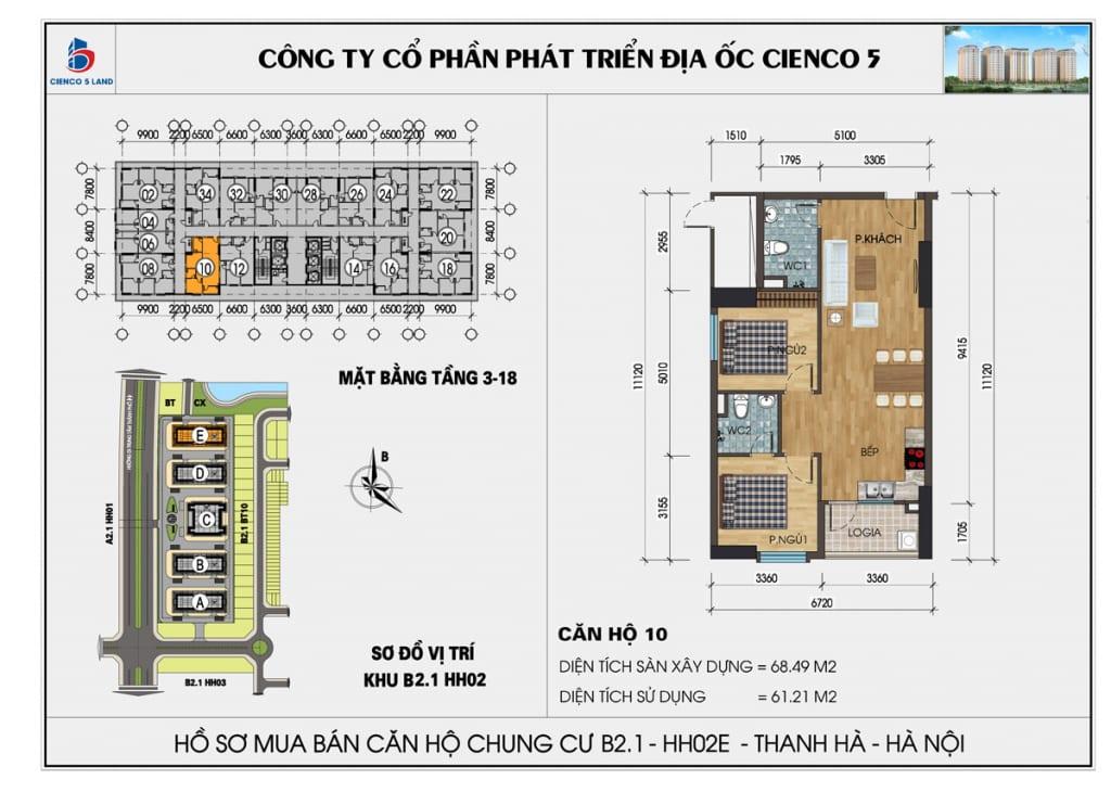 Mặt bằng căn hộ 10 chung b2.1 hh02E thanh hà mường thanh cienco5
