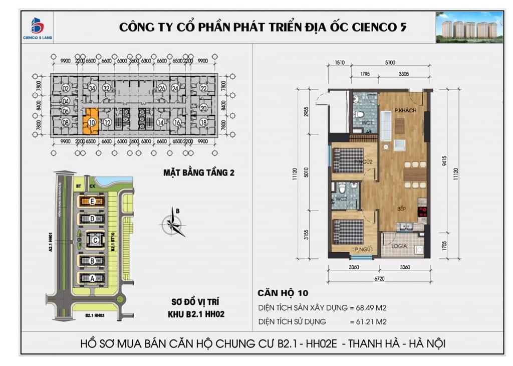 Mặt bằng căn 10 tầng 2 chung cư b2.1 hh02E thanh hà