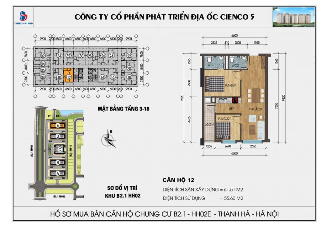 Mặt bằng căn hộ 12 chung b2.1 hh02E thanh hà mường thanh cienco5