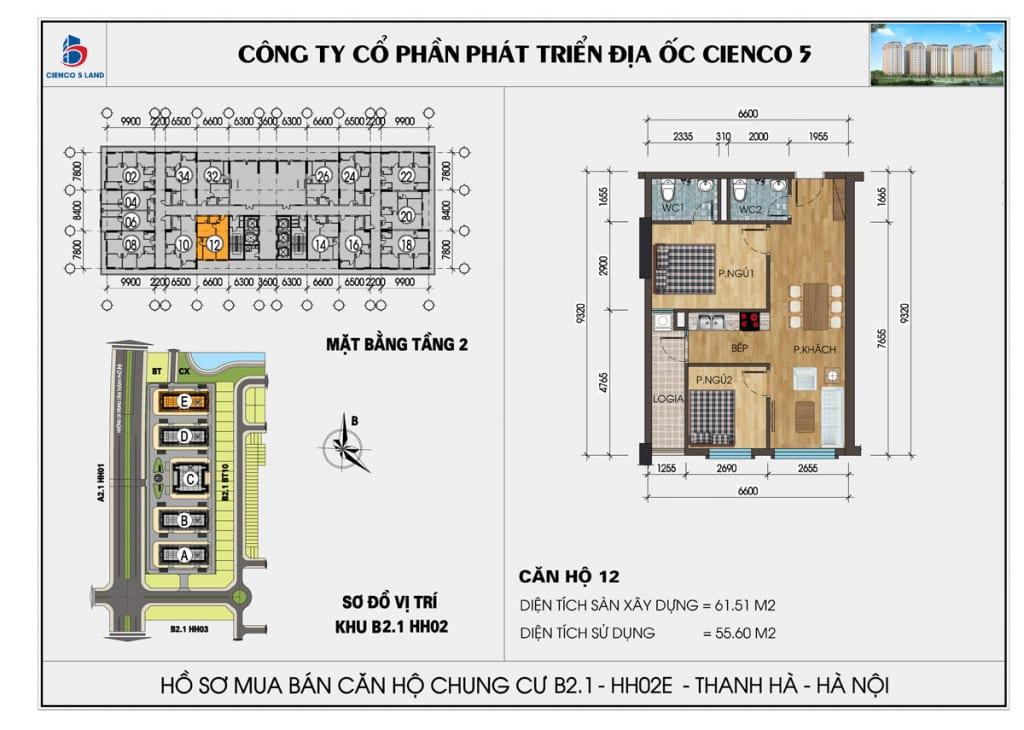 Mặt bằng căn 12 tầng 2 chung cư b2.1 hh02E thanh hà