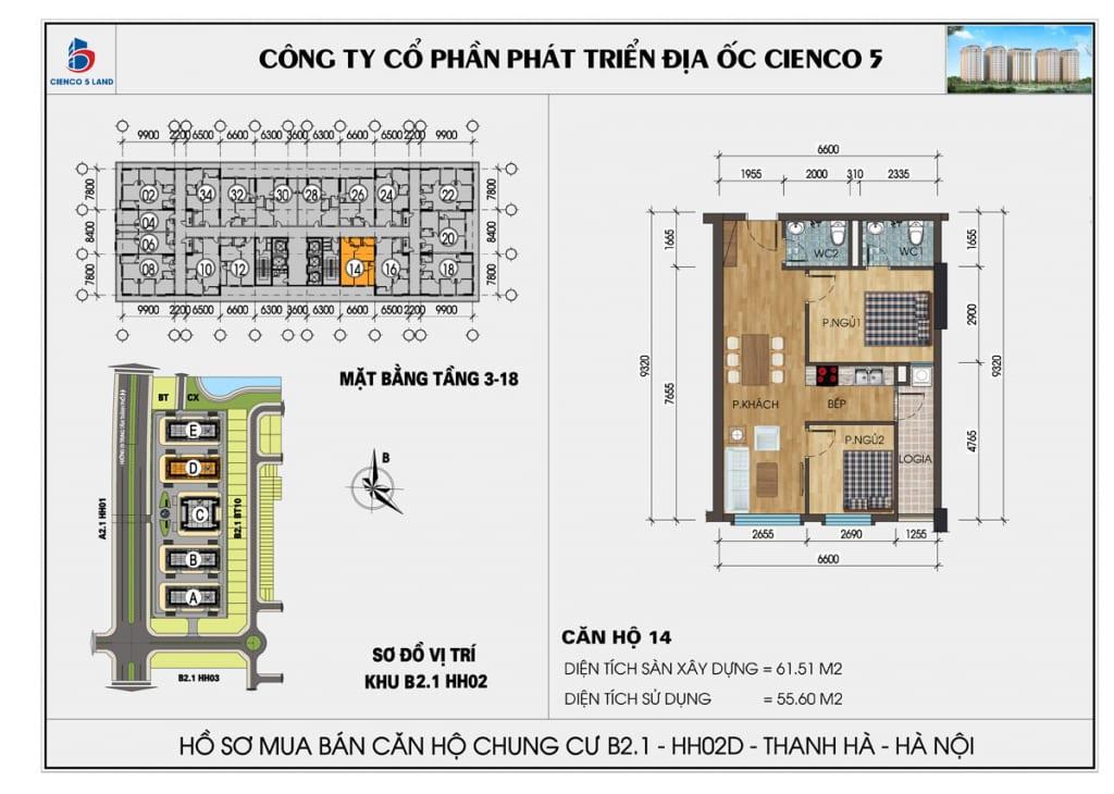 Mặt bằng căn hộ 14 chung b2.1 hh02d thanh hà mường thanh cienco5