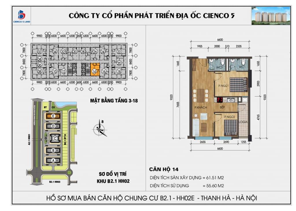 Mặt bằng căn hộ 14 chung b2.1 hh02E thanh hà mường thanh cienco5