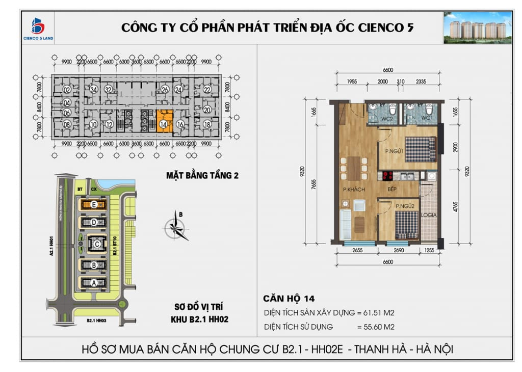 Mặt bằng căn 14 tầng 2 chung cư b2.1 hh02E thanh hà