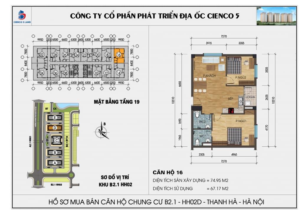 Mặt bằng căn hộ 16 chung b2.1 hh02d thanh hà mường thanh cienco5