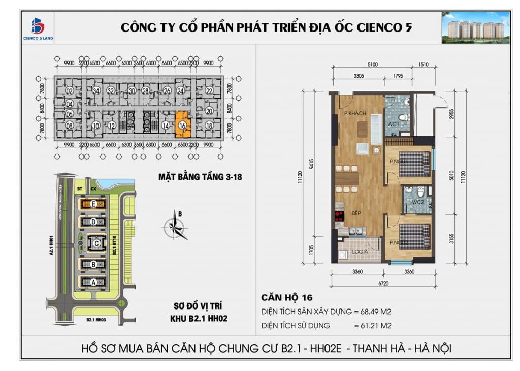 Mặt bằng căn hộ 16 chung b2.1 hh02E thanh hà mường thanh cienco5