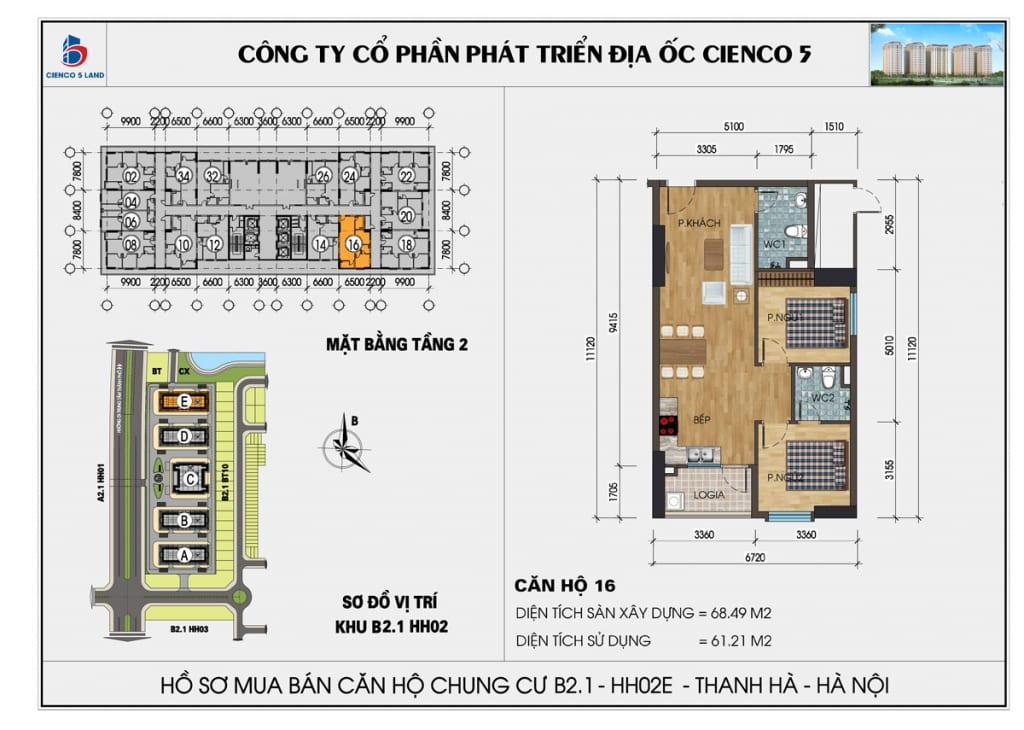 Mặt bằng căn 16 tầng 2 chung cư b2.1 hh02E thanh hà