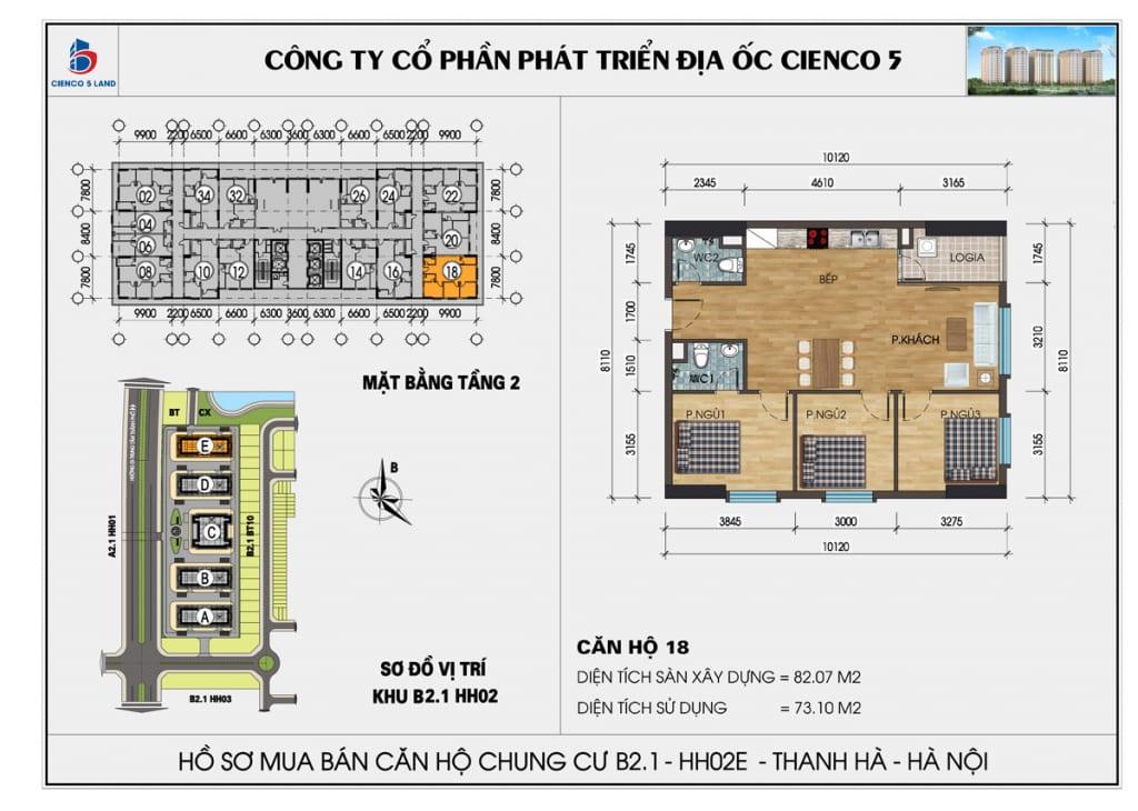 Mặt bằng căn 18 tầng 2 chung cư b2.1 hh02E thanh hà