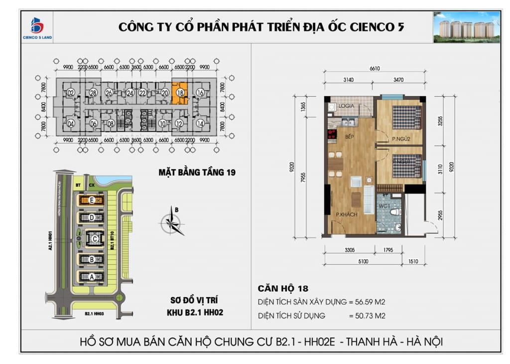 Mặt bằng căn hộ 18 chung b2.1 hh02E thanh hà mường thanh cienco5