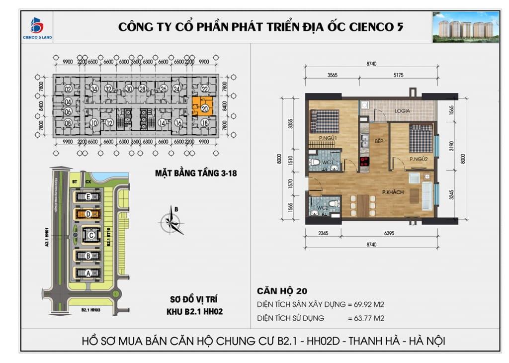 Mặt bằng căn hộ 20 chung b2.1 hh02d thanh hà mường thanh cienco5