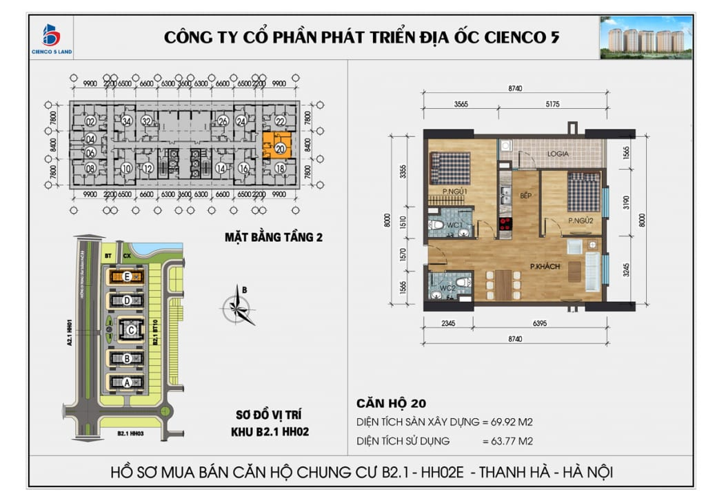 Mặt bằng căn 20 tầng 2 chung cư b2.1 hh02E thanh hà