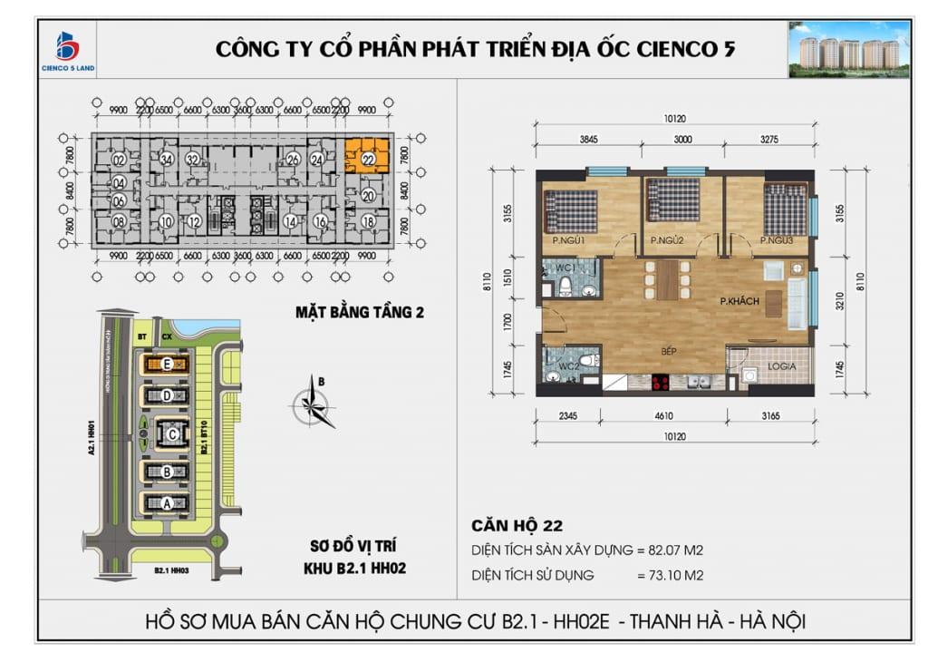 Mặt bằng căn 22 tầng 2 chung cư b2.1 hh02E thanh hà