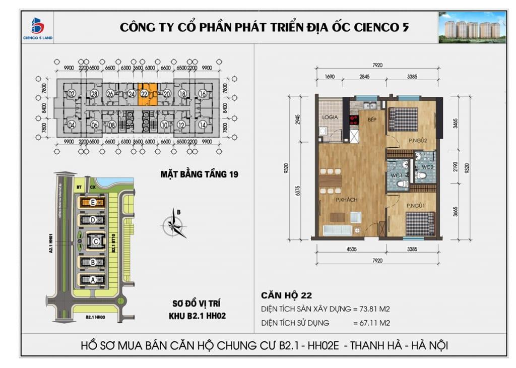 Mặt bằng căn hộ 22 chung b2.1 hh02E thanh hà mường thanh cienco5