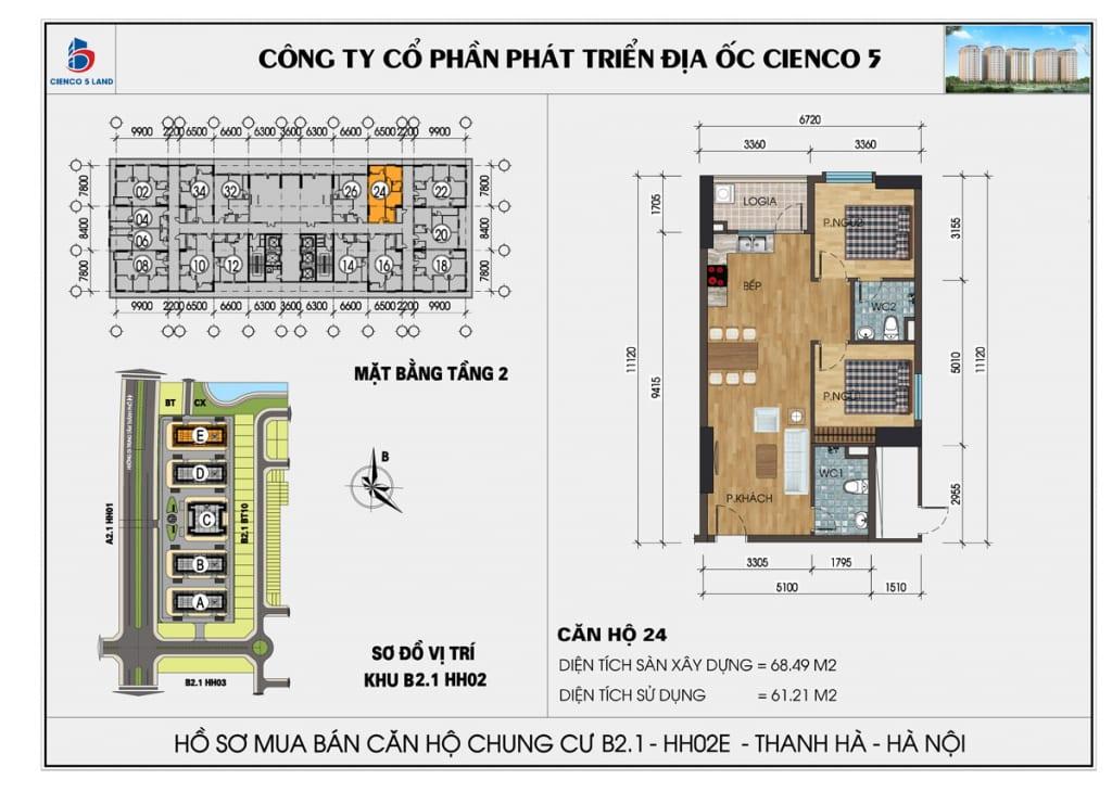 Mặt bằng căn 24 tầng 2 chung cư b2.1 hh02E thanh hà