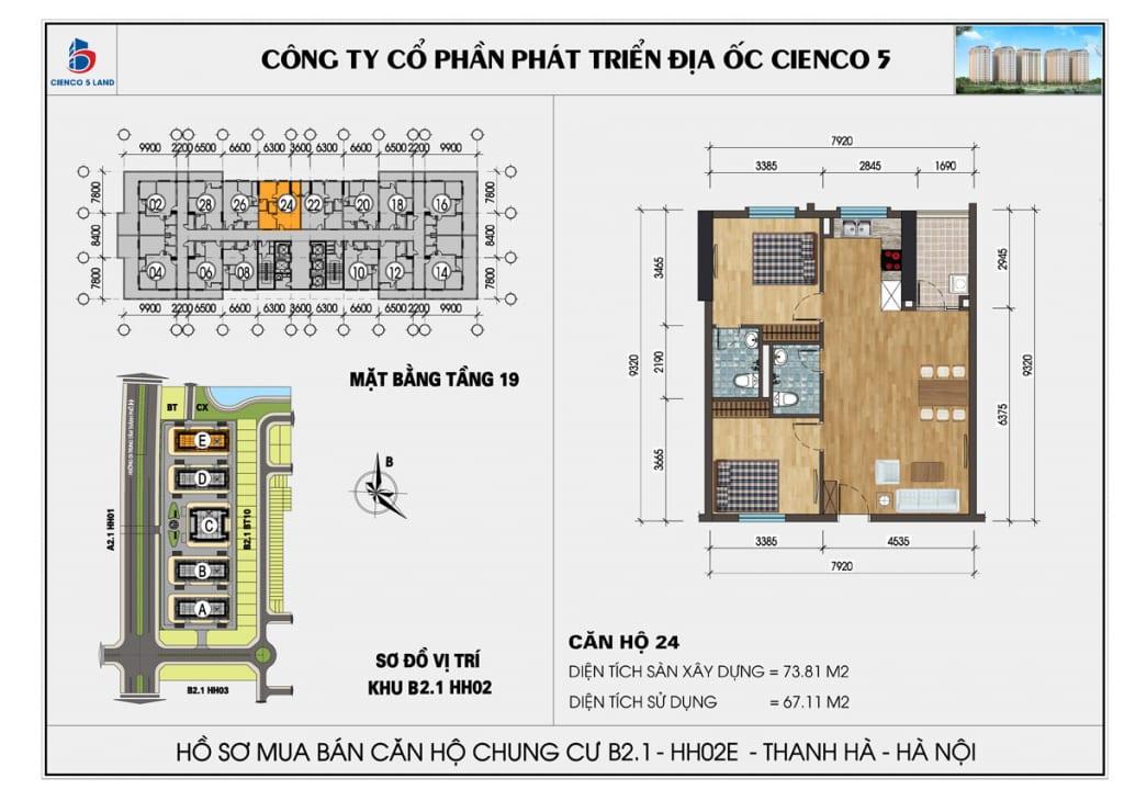Mặt bằng căn hộ 24 chung b2.1 hh02E thanh hà mường thanh cienco5