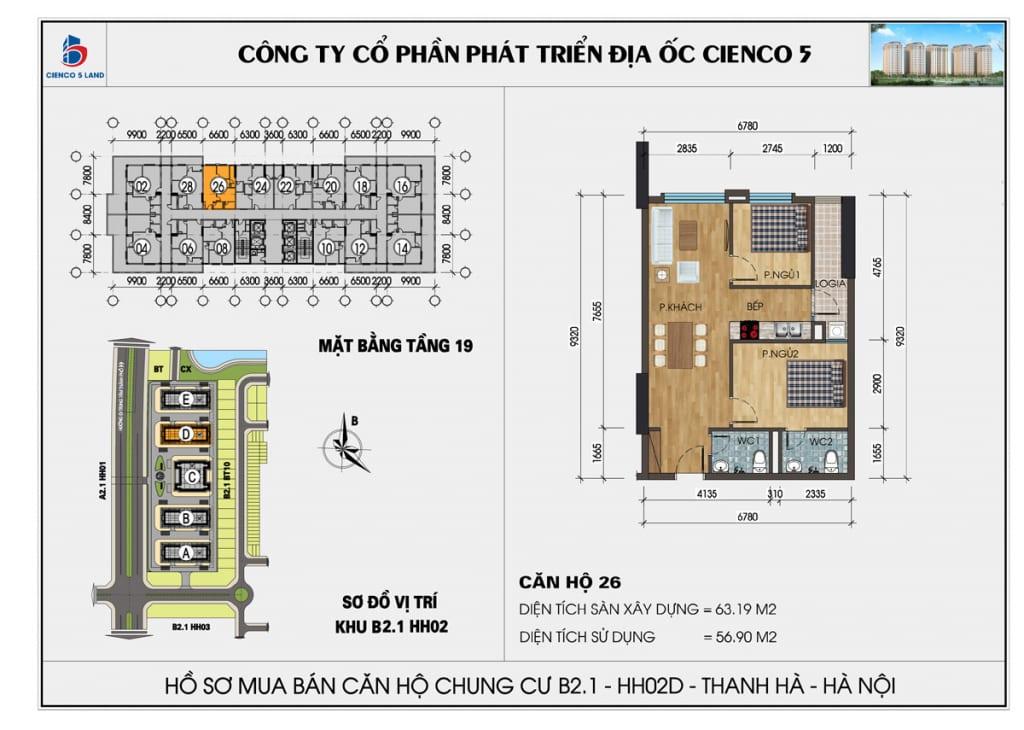 Mặt bằng căn hộ 26 chung b2.1 hh02d thanh hà mường thanh cienco5