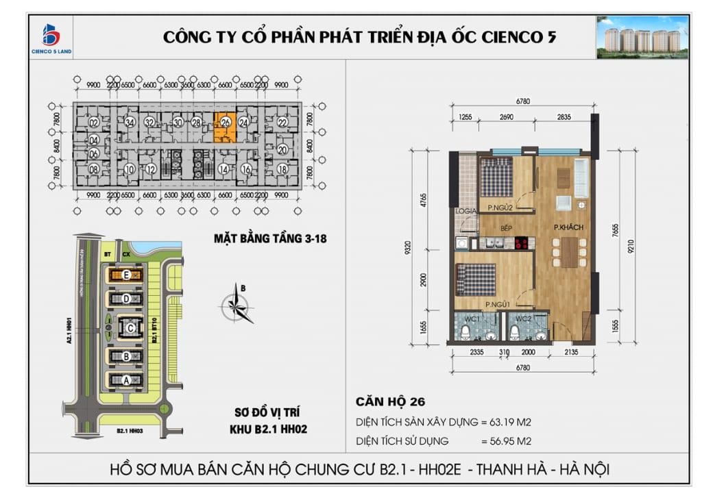 Mặt bằng căn hộ 26 chung b2.1 hh02E thanh hà mường thanh cienco5