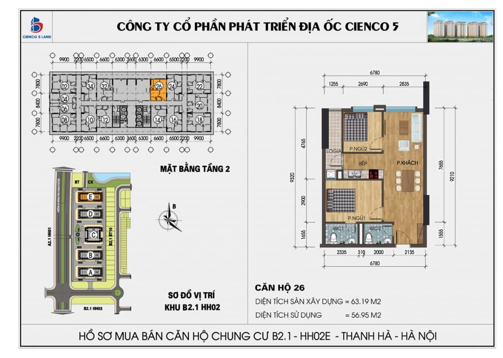 Mặt bằng căn 26 tầng 2 chung cư b2.1 hh02E thanh hà