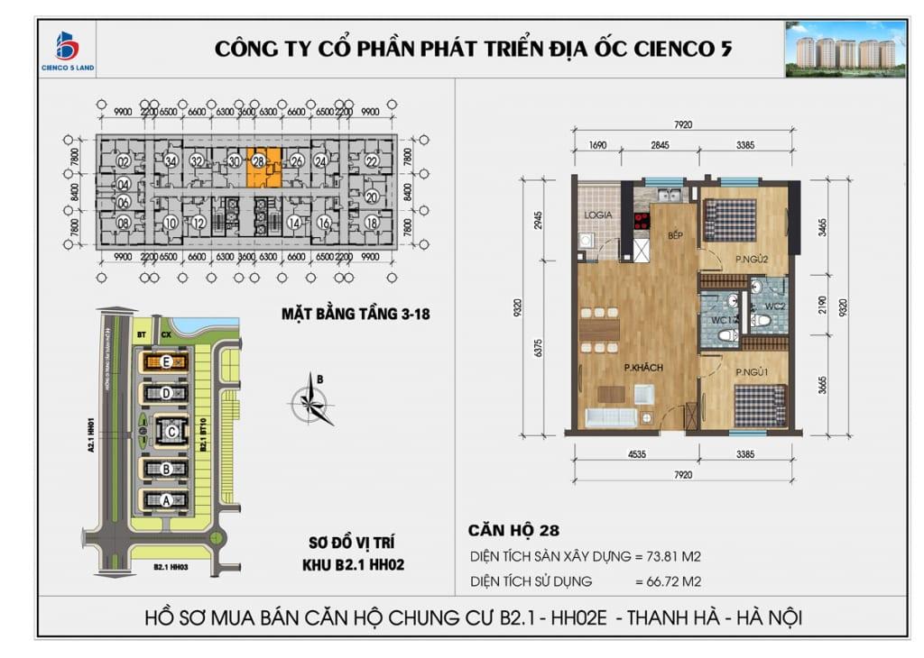 Mặt bằng căn hộ 28 chung b2.1 hh02E thanh hà mường thanh cienco5