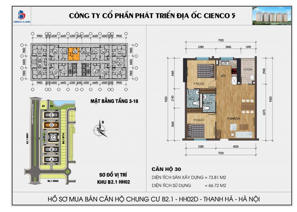 Mặt bằng căn hộ 30 chung b2.1 hh02d thanh hà mường thanh cienco5