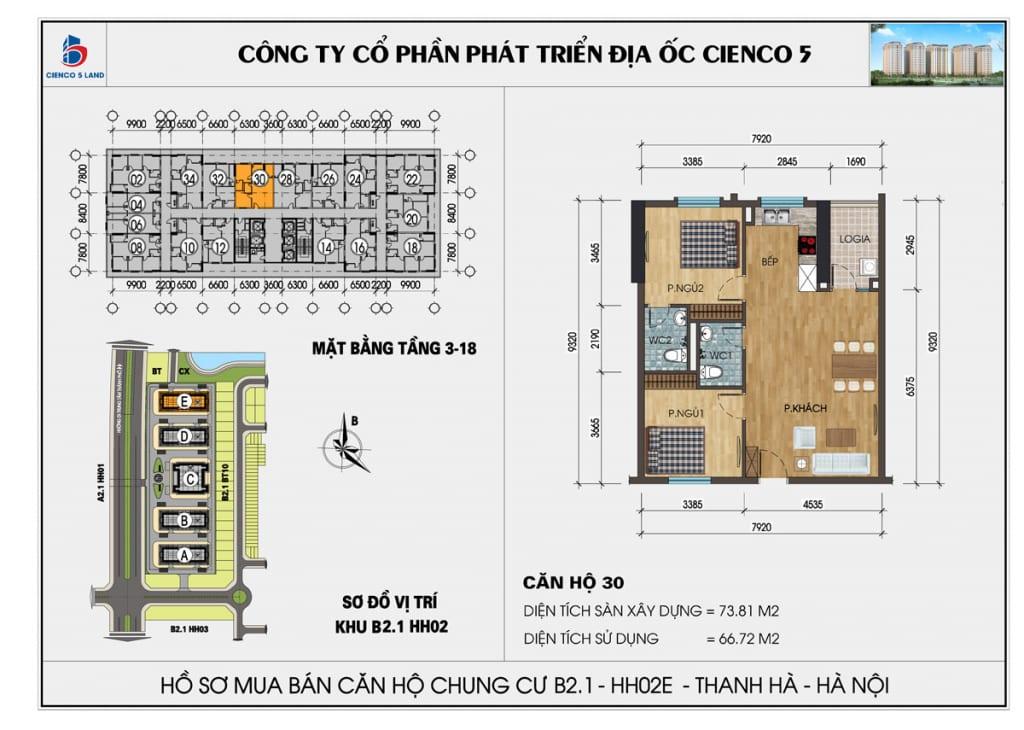 Mặt bằng căn hộ 30 chung b2.1 hh02E thanh hà mường thanh cienco5