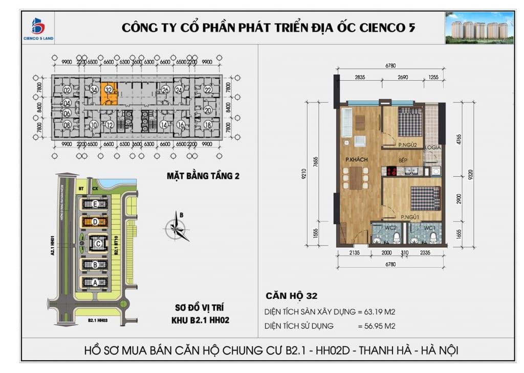 Mặt bằng căn hộ 32 chung b2.1 hh02d thanh hà mường thanh cienco5