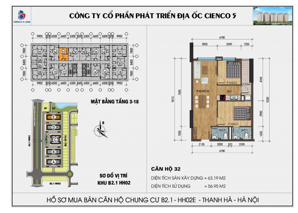 Mặt bằng căn hộ 32 chung b2.1 hh02E thanh hà mường thanh cienco5