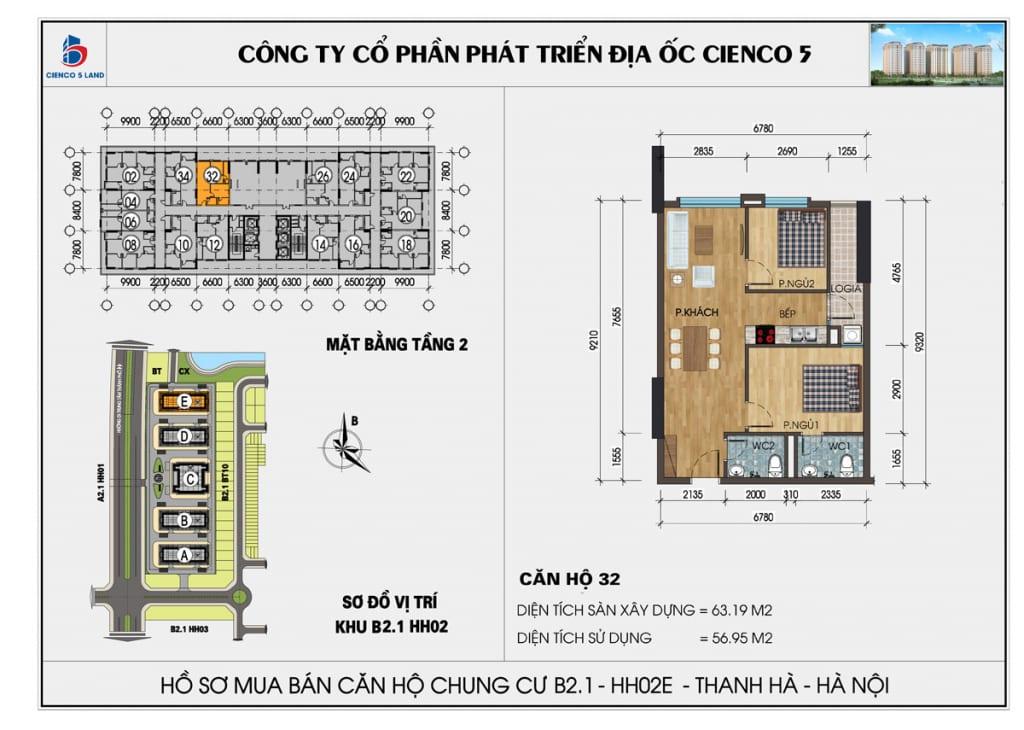 Mặt bằng căn 32 tầng 2 chung cư b2.1 hh02E thanh hà