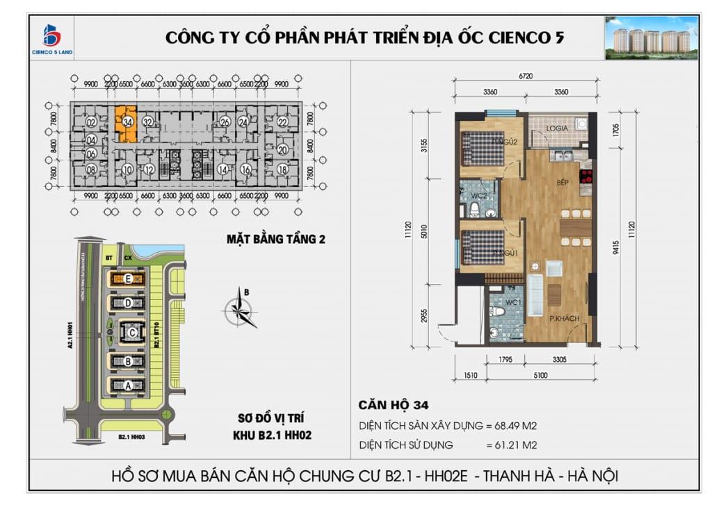 Mặt bằng căn 34 tầng 2 chung cư b2.1 hh02E thanh hà