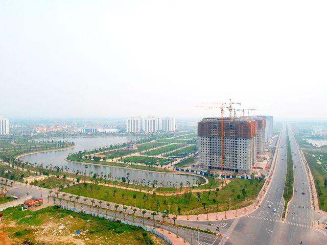 Góc nhìn View Hồ trục đường 50m nhìn khối 5 tòa B2.1 HH02 Thanh Hà