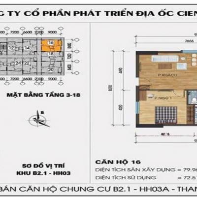 mặt bằng căn 16 chung cư hh03 thanh hà mường thanh cienco 5 land