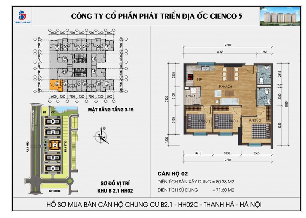 Mặt bằng căn hộ 02 chung b2.1 hh02c thanh hà mường thanh cienco5